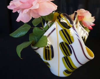 Fused Glass Vase - White, Yellow, and Purple