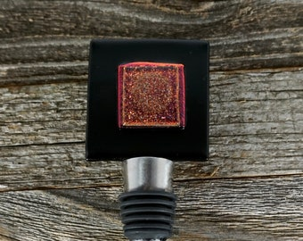 Fused Glass Wine Bottle Stopper - Red and Black