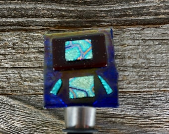Fused Glass Wine Stopper - Blue Dichroic