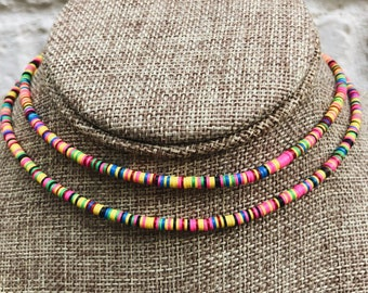 African Bead Rainbow Choker