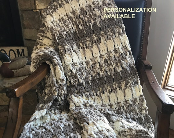 Chunky Soft Customizable Blanket | Ready To Ship Modern Afghan | Bulky Large Crochet Throw in Brown, Gray and White Stripes Chenille | XLong