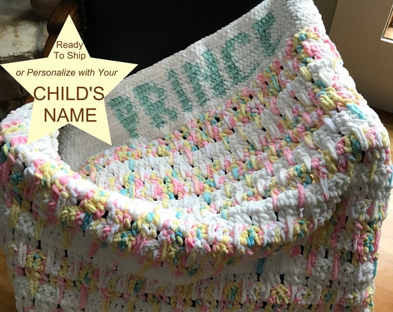 Baby Customizable Prince Boy Princess Girl Blanket | Ready To Ship Modern Car Throw | Chunky Crochet Kid Afghan | Pink Blue Yellow Chenille