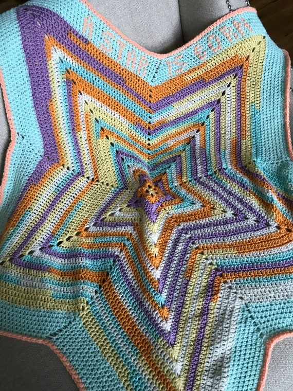 A Star Is Born Customizable Blanket | Ready To Ship Modern Afghan | Lightweight Crochet Throw in  Yellow, Lilac, Turquoise, White | 60 Inch