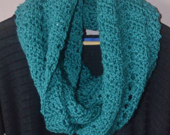 Teal Infinity Scarf, Teal Crochet Scarf, Infinity Scarf, Teal Scarf