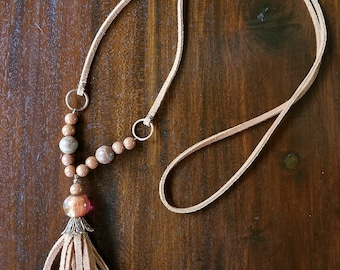 Suede leather tassle necklace with beads & embellishments
