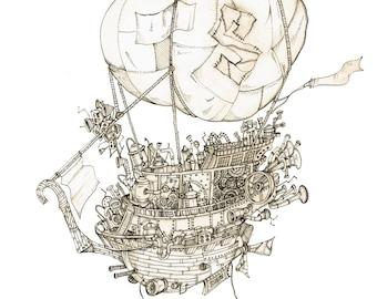 Men's Steampunk T-shirt Airship