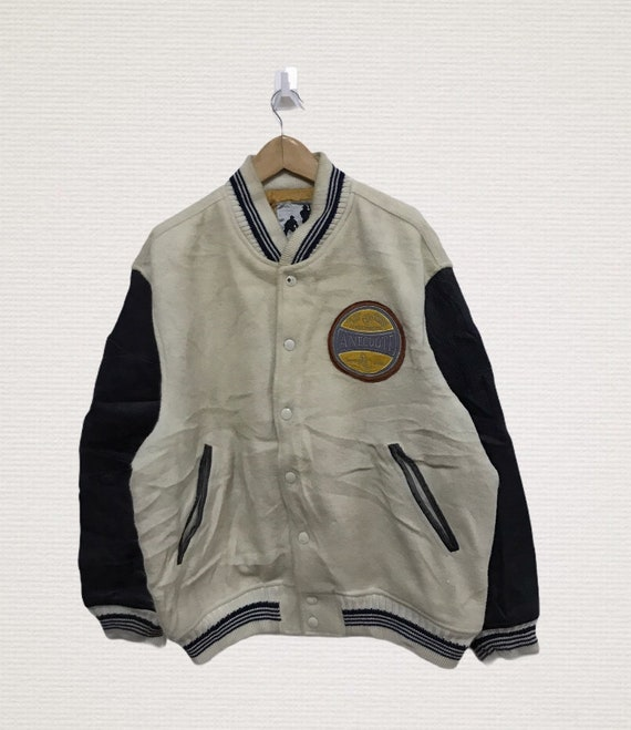 Vintage snap button wool Varsity jacket leather ha
