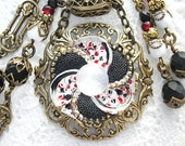 Polka Dot Parade- Vintage Glass Button Necklace and Earring Set- Morning Glory Designs