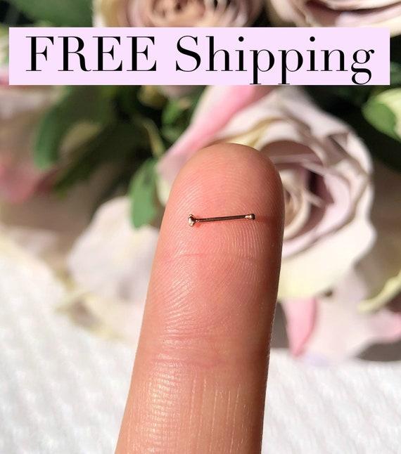 Tiny Rose Gold Nose Stud 1mm Rose Gold Nose Ring 22 Gauge Nose Etsy