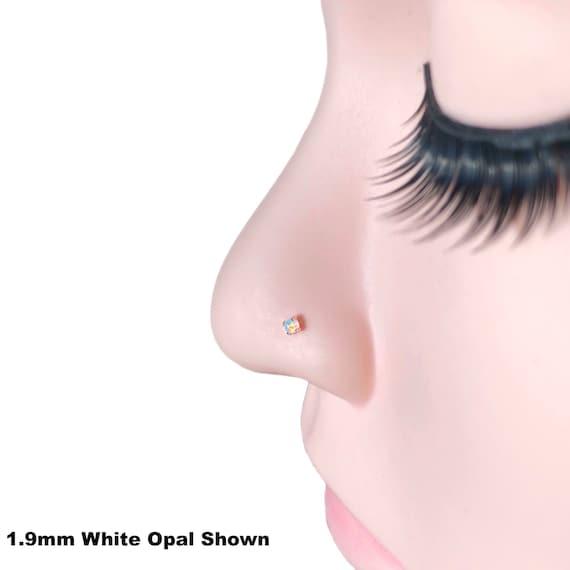 Tiny Opal Nose Stud Gold Dainty Nose Piercing White Opal 20g L Shape