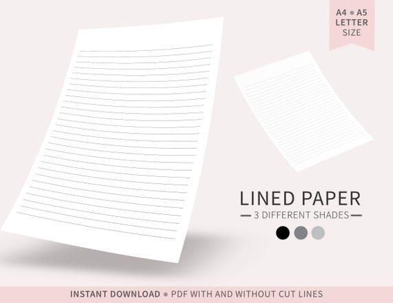 Shades of Black Lined Paper / Digital Paper / Printable Lined Paper / PDF /  A4, A5, Letter Size