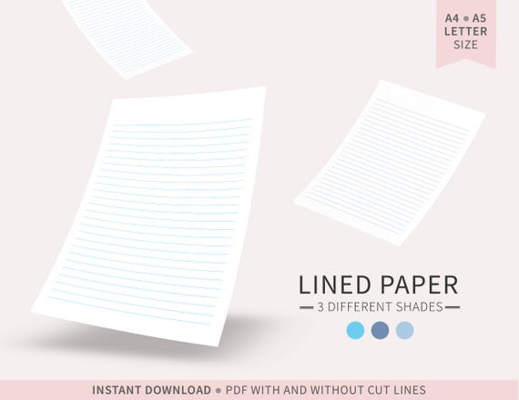 Shades of Blue Lined Paper / Digital Paper / Printable Lined Paper / PDF /  A4, A5, Letter Size