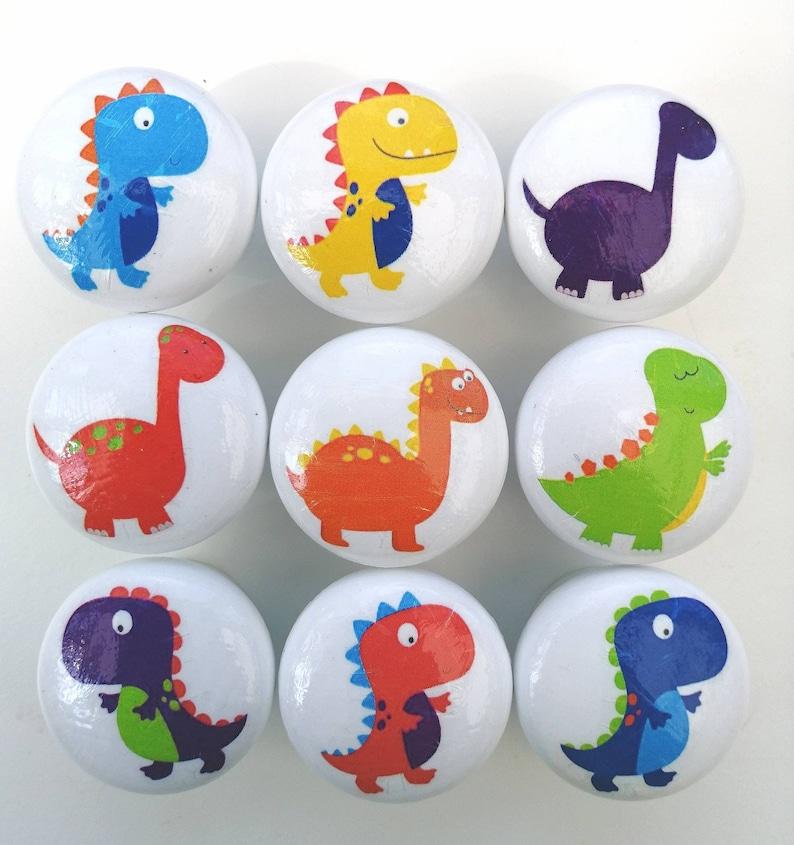 with screw 35mm Dinosaur decor drawer pull. Kids door knob in assorted dinosaur designs Wooden handmade dinosaur nursery drawer knob