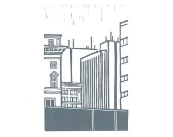 Portland Linocut Scene 3
