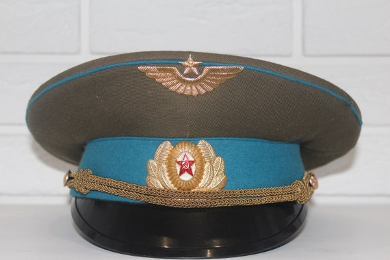 Military cap Soviet army hat Officer s cap Russian  ba9016417a2