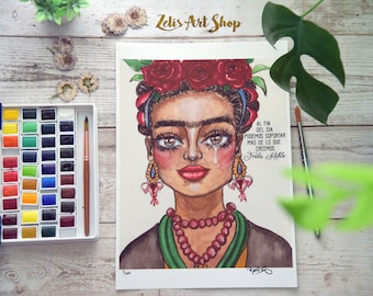 FRIDA KAHLO-Watercolor, Mixed media, Infertility, Flower crown, Strong woman, inspiration, muse