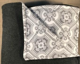 Grey and White Medallion Blanket