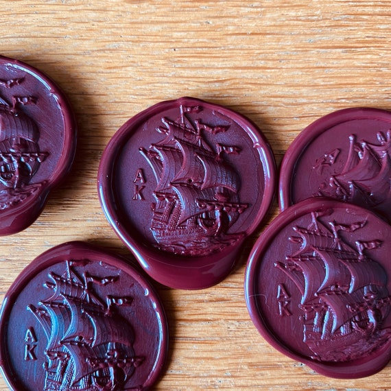 Wax seal with a large sailing ship • Vokssegl med sejlskib