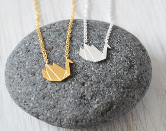 Origami Swan Necklace, Paper swan Jewelry, Bird Necklace, Wedding Gift, Bridesmaid Gifts, Animal Jewellery, Inspirational, Animal Pendant