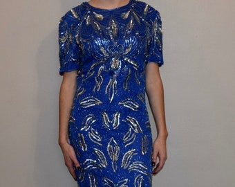 Vintage Blue Beaded and Sequin Knee Length Party Dress