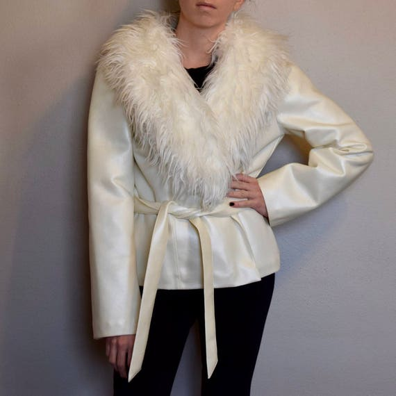 Vintage White Faux Leather And Fur Trimmed Jacket With Waist Tie Belt by Etsy