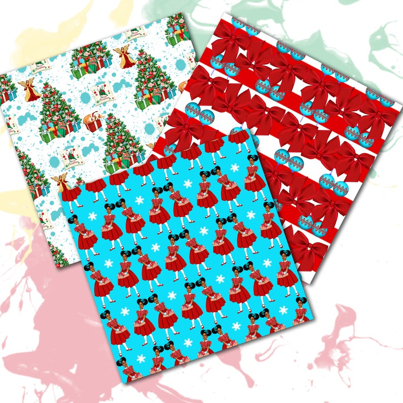 African American Armchair Winter digital paper Afro American Presents Christmas Digital Paper Fireplace Christmas tree Holiday