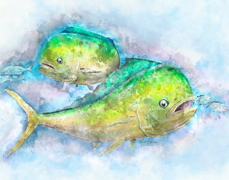 Mahi Mahi art Digital Watercolor Art