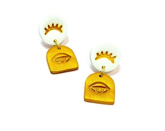 The Eye Earrings - Handmade Polymer Clay White & Gold Small Arch Stud Drop Earrings