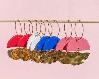The Eliza Earrings - Colourful Gold Textured Semicircle Hoop Earrings - Handmade Polymer Clay