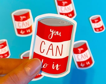 You Can Do It Sticker - Cute Illustrated Pun Die Cut Vinyl Sticker