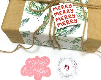 Christmas Gift Tags - Hand Lettered Illustrated Die-Cut Handmade Xmas Greeting Tags