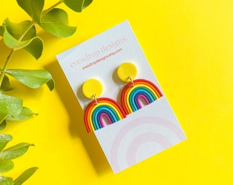 The Rainbow Drop Earrings - Rainbow Earrings with Yellow, Orange & Blue Studs - Handmade Polymer Clay