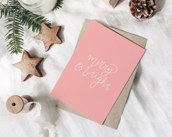 Merry & Bright Christmas Card - Cute Pink and White Hand Lettered Illustrated Holiday Blank Card