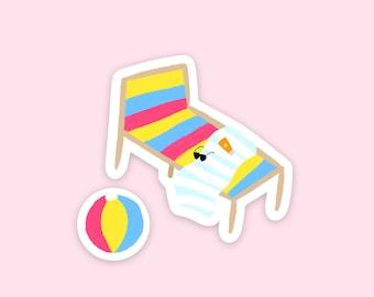 Beach Sticker Set - Cute Illustrated Colourful Rainbow Beach Chair & Ball Die Cut Vinyl Stickers
