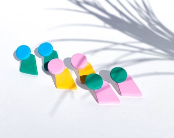 The Polly Earrings - Handmade Polymer Clay Pink, Yellow, Green & Blue Mixed Stud Earrings