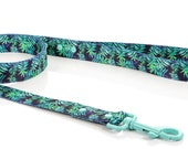Dog leash palm leaves unisex WATERWEED dog leash watercolor floral and plant pattern, dog leash leaves,