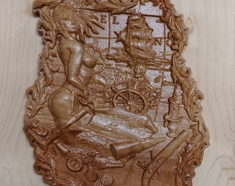 Girl and Pirate Carved Wooden 3d Bas Relief Wall Art