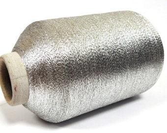 4d3fcff3 Silver metallic lace weight sparkle yarn Light gray lurex thread Ligh silver  glitter thread Shining fiber / per 3,52 oz