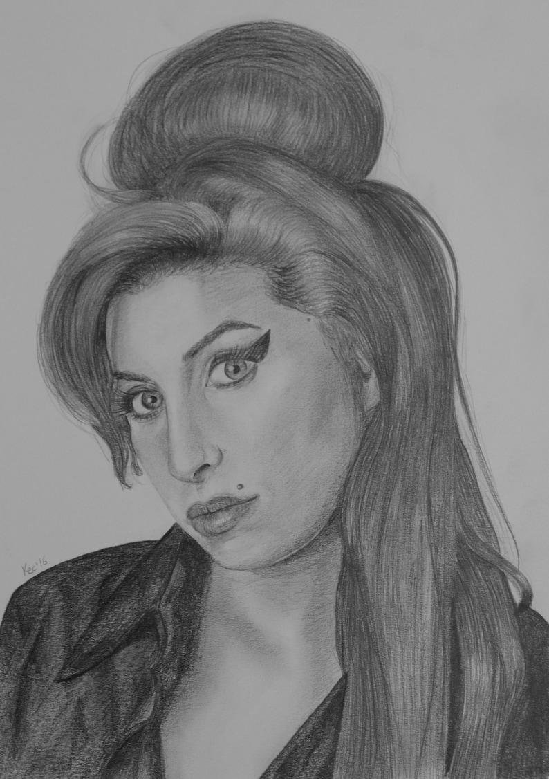 A4 Gicl\u00e9e Art Print Amy Winehouse Graphite Portrait