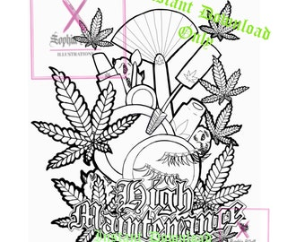 Stoner Coloring Page Etsy