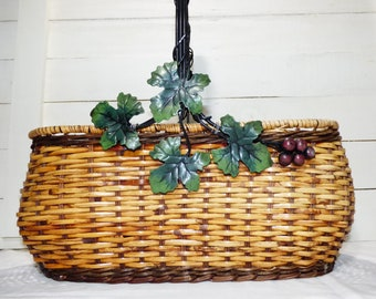 Vintage Large Wicker and Wire Gathering Basket with Decorative Metal Leaves, Vintage Wicker and metal Basket, Large Wicker snd Wire Basket
