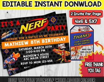 Nerf Party Invitation Instant Download Dart Gun Invite Birthday Templates