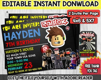 Roblox Birthday Invitation PartyRoblox Invite Printable Template Game Instant Download