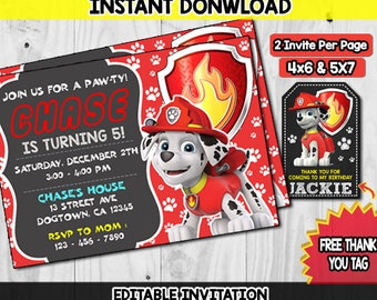 Marshall Paw Patrol Invitation Instant Download Birthday Party Invites PDF Editable Templates