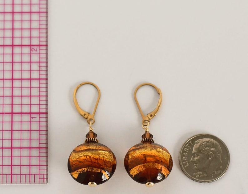 Golden Topaz Murano Glass Earrings Gold Filled Ear Wires