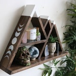 Wide base mountain altar crystal shelf with moon phases