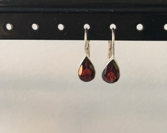 Garnet tear drop earring