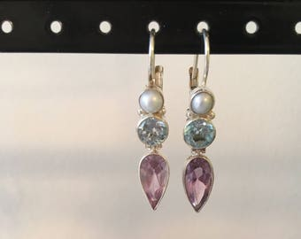 Pastel and pretty amethyst, blue topaz and pearl earring