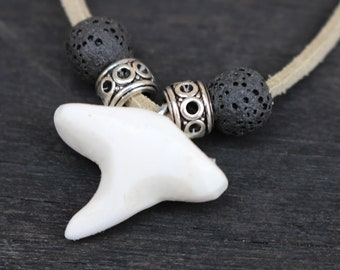 Shark tooth necklace / / tribal pendant, polymer clay, viking, ethnic pendant, lava bead, jewelry for him, her, handmade