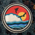 """The Island Patch 3.5"""" / Set Of 2 Patches - Embroidered - Sew On - Jacket Patches, Nature Patch, Travel Patch 